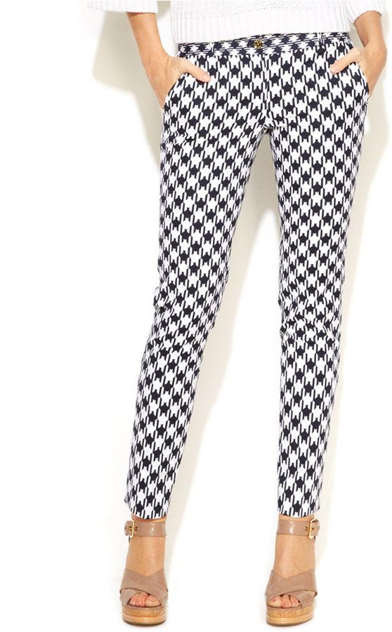 Michael Michael Kors Michl Michl Kors Skinny Houndstooth Print Pants 110 Macy S Lookastic