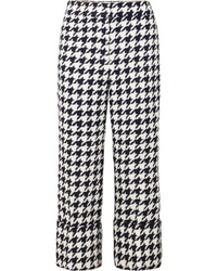 Oscar de la Renta Cropped Houndstooth Wool Blend Tweed Straight Leg Pants