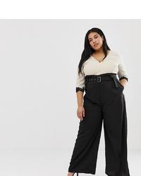 Little Mistress Plus Contrast 2 In 1 Wrap Front Jumpsuit In Multi