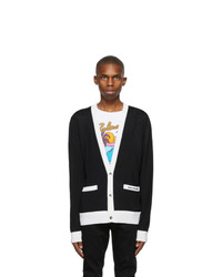 Balmain Black And White Wool Cardigan