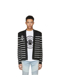 Balmain Black And White Striped Badge Cardigan