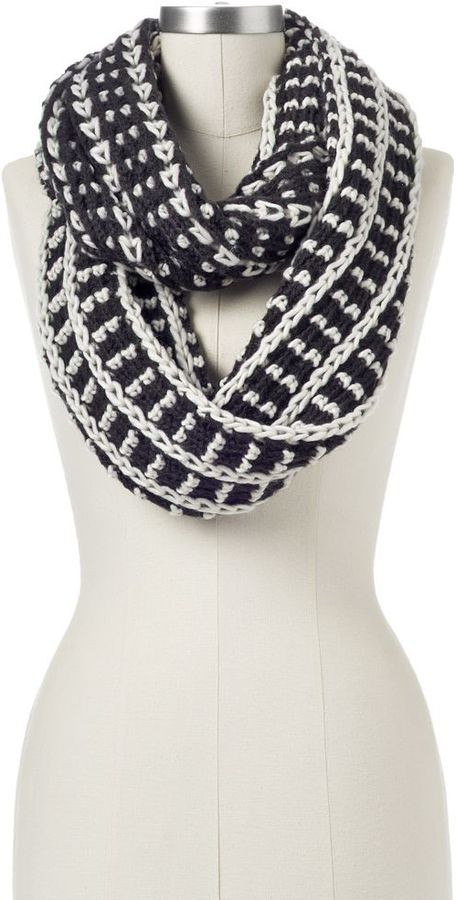 Black Knitted Infinity Scarf Knit Infinity Scarf Black