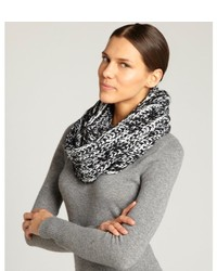 Black and white marled knit infinity scarf medium 127006