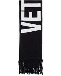 Vetements Black White Wool Double Logo Scarf