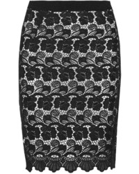 Black and White Lace Pencil Skirt