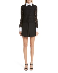 Valentino Contrast Collar Lace Crepe Couture Dress