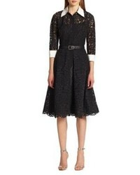 Teri jon by rickie freeman lace contrast shirtdress medium 4271012