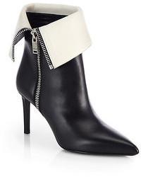 Saint Laurent Bicolor Leather Fold Over Booties