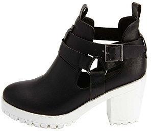 russe color block lug soled block heel booties