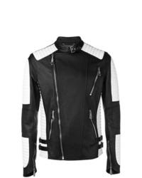 Black and White Leather Biker Jacket