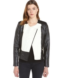 Ellen Tracy Black And Creme Faux Leather Colorblock Moto Jacket