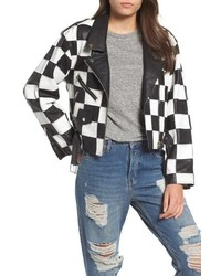 Topshop Checkerboard Leather Moto Jacket
