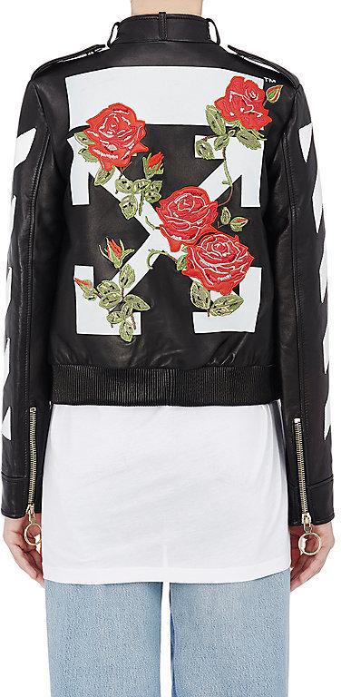 185c195ee99c Off-White Co Virgil Abloh Stripes And Roses Embellished Leather Moto Jacket