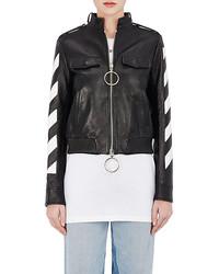 14937e2fe26b ... Off-White Co Virgil Abloh Stripes And Roses Embellished Leather Moto  Jacket ...