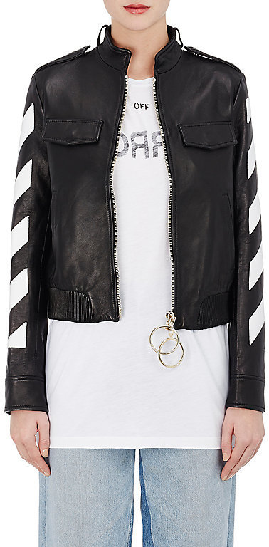 4631c7c8e $2,395, Off-White Co Virgil Abloh Stripes And Roses Embellished Leather  Moto Jacket