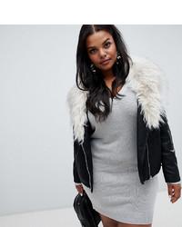 New Look Plus New Look Curve Detachable Faux Fur Collar Biker Jacket