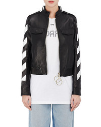 Off-White Co Virgil Abloh Stripes And Roses Embellished Leather Moto Jacket