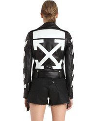 Off-White Diagonal Stripes Leather Biker Jacket