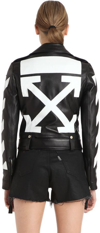 87d75f89f $2,476, Off-White Diagonal Stripes Leather Biker Jacket
