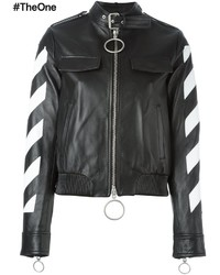 Off-White Striped Sleeves Leather Jacket