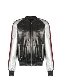 Balmain Contrast Sleeve Leather Bomber Jacket