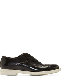 Black slip on leather brogues medium 130504