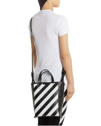 Off-White Diagonal Stripe Leather Tote