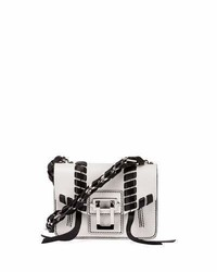 Hava leather chain crossbody bag whiteblack medium 5422538