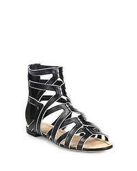 B Brian Atwood Bicolor Leather Gladiator Sandals Black White