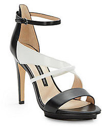 Black and White Leather Heeled Sandals