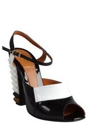 Fendi Black And White Leather Spiked Stacked Heel Sandals