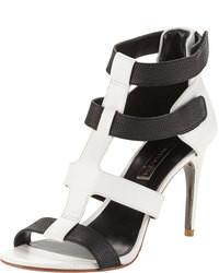 Palmer two tone leather strappy sandals blackwhite medium 79642