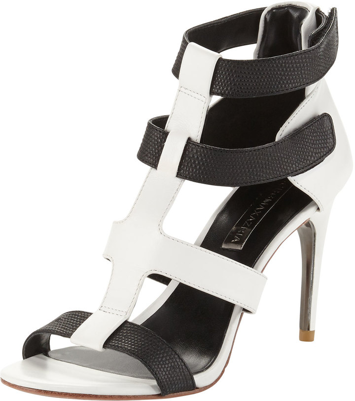 680af49be97 ... Black and White Leather Heeled Sandals BCBGMAXAZRIA Palmer Two Tone  Leather Strappy Sandals Blackwhite ...