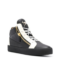 Black and White Leather High Top Sneakers