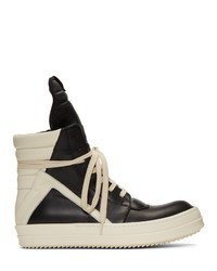Rick Owens Black And Off White Geobasket Sneakers