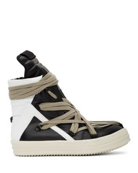Rick Owens Black And White Geo Basket High Top Sneakers