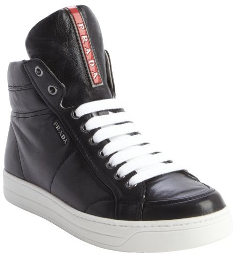 Zipper Top Detail Sneakers High Black Leather OPnXZ80wkN