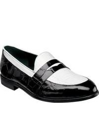 Stacy Adams Serafino 24725 Blackwhite Leather Penny Loafers