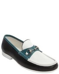 Gucci White And Green And Black Leather Horsebit Loafers