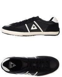 Black and White Leather Low Top Sneakers