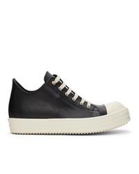 Rick Owens Black Calfskin Low Sneakers