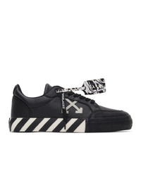 Off-White Black Leather Low Vulcanized Sneakers