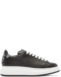 Black leather perforated star low top sneakers medium 447462