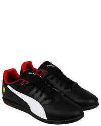 Puma Ferrari Pedale Grid Sf Black White Leather Lace Up Sneakers Shoes