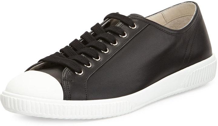 e02bc104747 ... Prada Leather Cap Toe Low Top Sneaker Black ...
