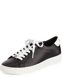 Michl michl kors irving leather lace up sneaker blackoptic white medium 428479