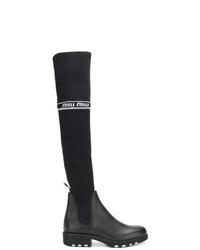 Miu Miu Over The Knee Logo Sock Boots