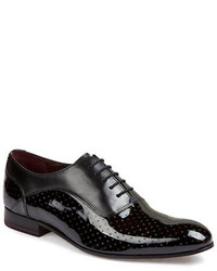 Black and White Leather Oxford Shoes