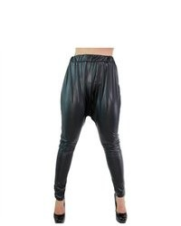 Soho Girl Leather Parachute Pants Black