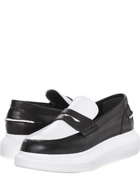 Black and White Leather Platform Loafers